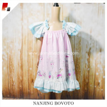 Pink floral printed fabric kid girl dress