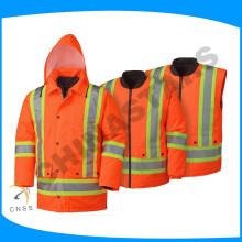 Multifuncional impermeável roupas de segurança reflexivo 3-1 ansi coletes de segurança