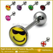 Billige maßgeschneiderte Logo Epoxy Edelstahl personalisiert Zunge Ringe