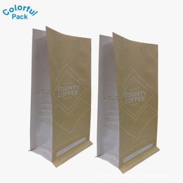 Custom printed kraft paper bag flat bottom coffee bag with side gusset food packaging bag