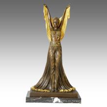Dancer Figure Statue Overgild Lady Bronze Sculpture TPE-148j