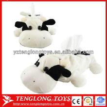 Caja linda de tejido de peluche de felpa de forma de vaca