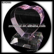 K9 3D Laser Coração de Cristal Rosa com Base
