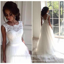 2017 robe de mariage New Lace O-Neck Lace Tulle Wedding Dresses Summer Beach Bridal Gown Bohemian Wedding Gowns MW2212