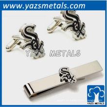 Chicago White Sox mancuernas y juego de regalo de barra de corbata, clip de sujetador de metal a medida con diseño