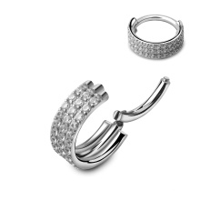 Triple Stack Hinged Titanium Easy to Bend Crystal Diamante Nose Hoop Jewelry Clicker Ring