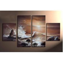 Início Decroation Sea Waves pintura a óleo sobre tela (SE-195)