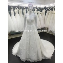 100% Real Photos Scoop Neckline Short Sleeves Gowns Empire A-Line Floor-Length sequins Long Train Wedding Bridal Dress vw258