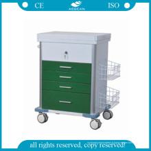 AG-GS008 Hôpital Medical Patient Emergency Cart Green Color