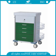 AG-GS008 Hospital Medical Patient Emergency Cart Green Color