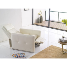White Color Push Back Recliner Arm Chair