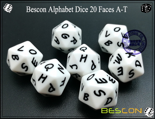 Bescon Alphabet Dice 20 Faces A-T-2