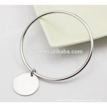Wholesale Casual shiny high polish silver Charm bangle bracelets for women