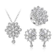 Bañado En Plata Joyería De Diamantes De La Flor Conjuntos De Joyas al por mayor (CST0038)