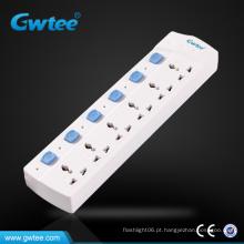 Faixa de alimentação eléctrica universal de 6 vias com interruptor individual