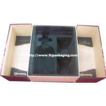 Alta qualidade médio porte forma vinho e vidro conjunto embalagem caixa de papel com flocagem