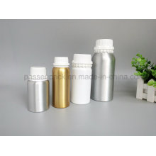 Leere chemische Aluminiumflasche mit weißer Plastik-Tamper-Proof Cap (PPC-AEOB-014)
