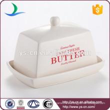 Plato de mantequilla de cerámica decorativo para cocina y tapa de tapa