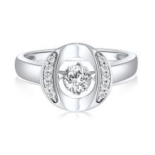 O Shape 925 Silver Rings Jewelry Dancing Diamond