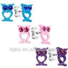 Love Owl Trio Stud Brinco Ear Pin Brinco