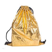 Factory direct Silver drawstring packaging bag store laminated coated bundle pocket