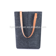 Strong load bearing felt shopping bag with leather handle