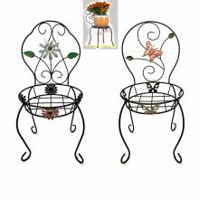 Decorative Chair Shaped Garden Decoration Linellae Metal Flowerpot Stand Craft