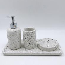 2020 New Design Terrazzo Looking Cement Cheap Bathroom Accessories Set