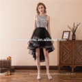 Laço de cauda de andorinha borboleta vestido de noiva lace curto vestido de noite curto frente longa volta cap manga formal vestido de noite
