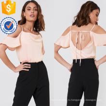Открытая спина розовый холодное плечо коротким рукавом летний Топ Производство Оптовая продажа женской одежды (TA0085T)