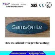 Etiqueta de metal de zinc con revestimiento en polvo