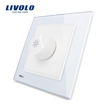 Livolo New Dimmer Switch Panneau de verre blanc AC 110 ~ 250V Interrupteur mural à la maison VL-W291G-12