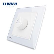 Livolo Новый Диммер Белый Кристалл Стеклянная Панель AC 110 ~ 250 В Главная Настенный Выключатель Света VL-W291G-12