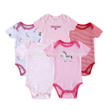Multicolored Printing 5pcs 100% Organic Cotton Newborn lmport Baby Girl Clothes Rompers