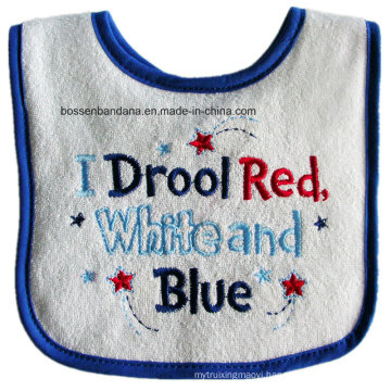 Customized Design Cheap Promotional Embroidered White Terry Baby Bandana Drool Bib