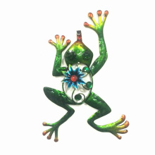 Funny Metal Flowered Frog Wall Decoration for Garden
