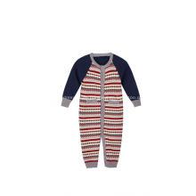 Gestrickter Jacquard-Babystrampler mit Knöpfen für Jungen und Mädchen