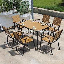 Outdoor backyard  furniture plastic wood leisure dining set wood patio furniture