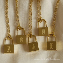 Custom Gold Jewelry 18k Gold Plated Padlock Necklace A-Z Letter Print Charms For Jewelry Making