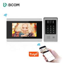 Bcom CAT5 Cable Digital IP Poe Smart Doorbell Intercome Kit Citofonia Wifi Tuya Touch Screen 7 Inch Audio Video Intercom System