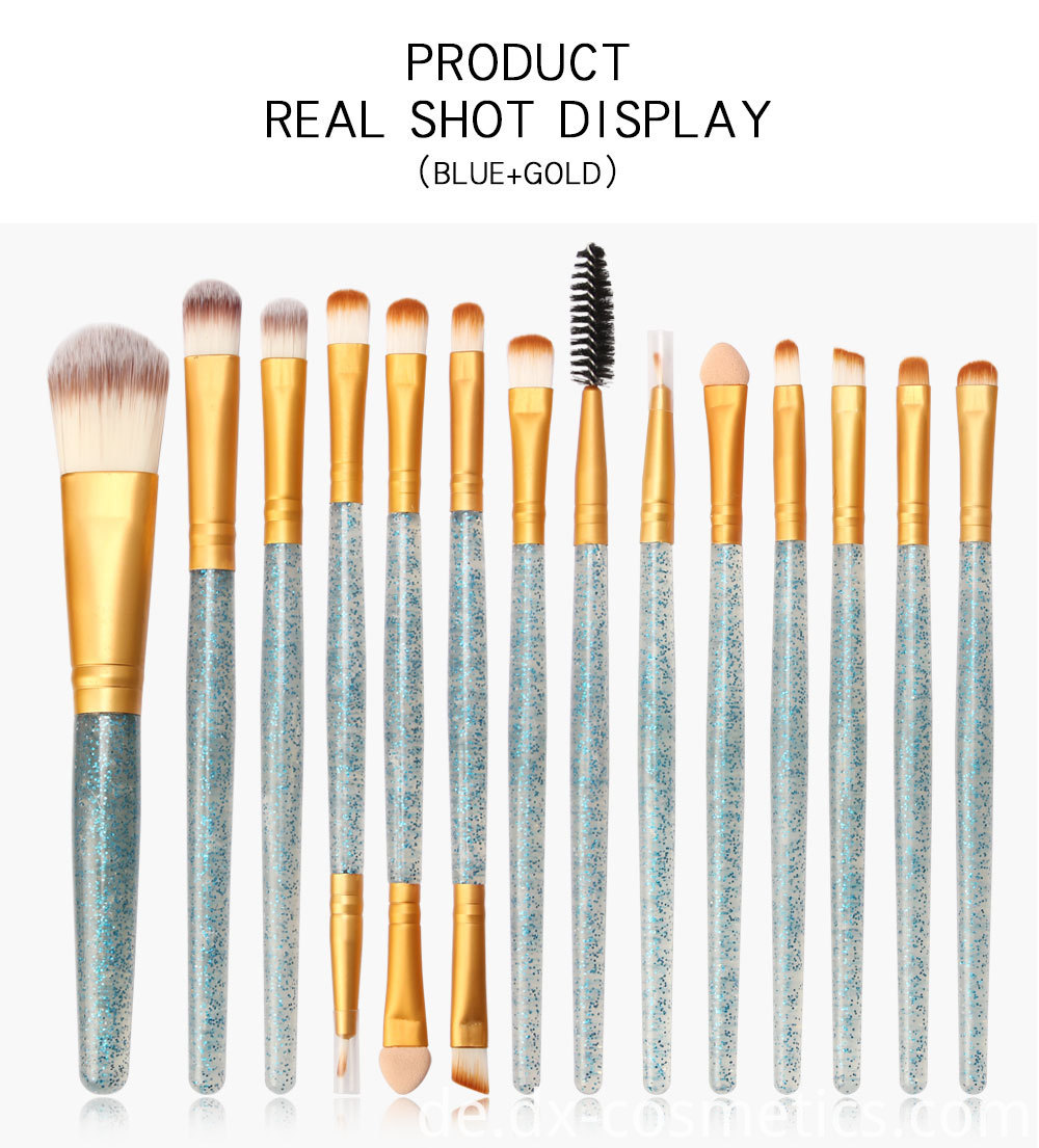 15 Pieces Crystal Travel Makeup Brushes Set 7