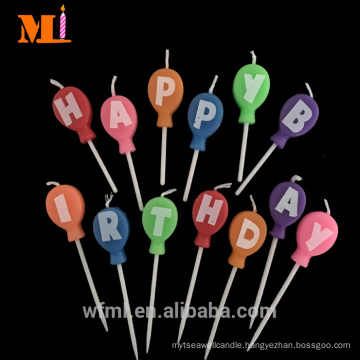 Wanted Factory 100% Fully Refined Paraffin Wax Coloured Kids Balloon Shape Birthday Candles