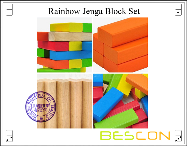 Rainbow Jenga Block Set-2