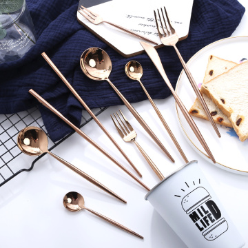 Kualitas tinggi Hotel Stainless Shinny Rose Gold Cutlery