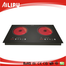 CE Certificate with Metal Housing Touching Inbuilt Double Burner Infrared Cooker