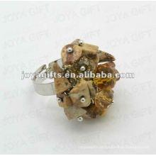 Envolva Anéis com Imagem Jasper Chip pedra