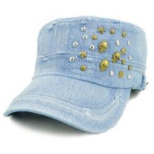 Custom flat top hat military cap washed design cap