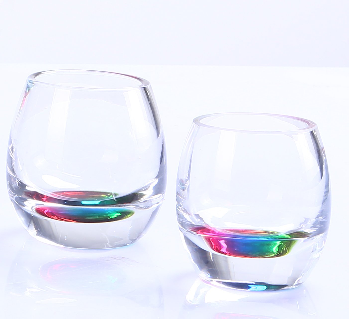 BR-9128-7Stemless Wine Glass With Rainbow Bottom