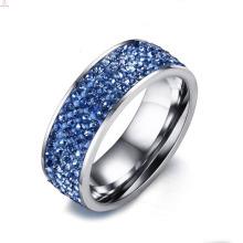 A prata faz anéis de aço inoxidável da jóia pavimentada com pedra