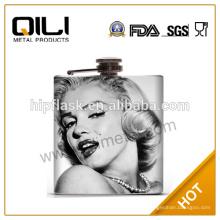 18 10 FDA 6oz Edelstahl Wasser Transfer Farbdruck Whisky Flachmann